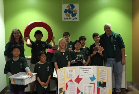 Image of Matsuyama's Robotics Team competed in First Lego League's local competition in Folsom, CA.  Their robot collected a combined 823 points!  Nice job!
